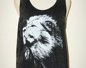 Lion Face Bleached Black Sleeveless Singlet Tank Top Women Art Indie Animal T-Shirt Size L