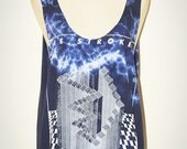 The Strokes Tie Dye Bleached Blue Tank Top Singlet Sleeveless No Sew Indie Punk Rock T-Shirt Size M