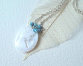 RESERVED for Diane - Emma  - cameo river shell pendant necklace - beaded necklace -turquoise beads - blue, delicate, romantic, shabby chic