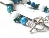 Garden Party Bracelet - White, blue, green bracelet with blue agates, malachite and white faceted opaque glass beads