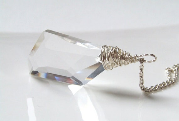 Narnia Necklace  - Wire wrapped faceted clear crystal pendant