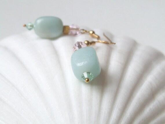 Milky Amazon - Milky aqua beaded earrings - blue - delicate - dangle earrings