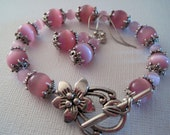 Embellished Light Pink Cats Eye Bracelet and Earring Set