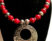 Metal and Red Glass Beaded Necklace