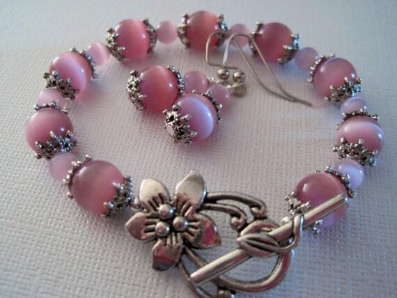 Embellished Light Pink Cats Eye Bracelet and Earring Set