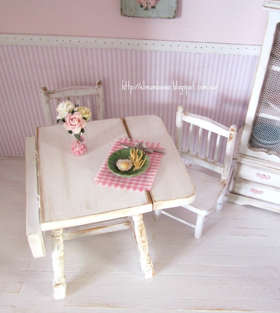 Table and chairs with accessories for dollhouses
