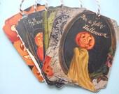 Halloween tags, Halloween favors, Halloween cards, Vintage pumpkin, vintage holiday tags