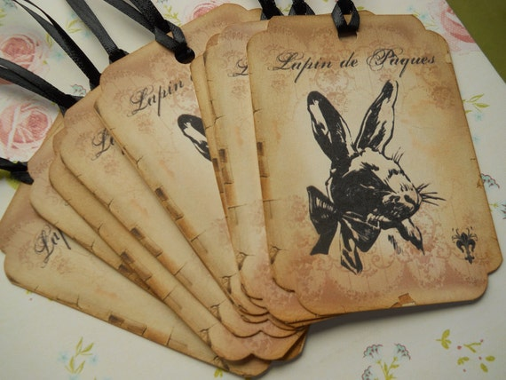 Lapin de p ques easter tags vintage bunny tags bunny - Decoration table paques ...
