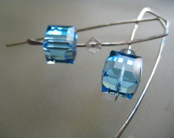 Modern Swarovski Crystal Earrings. Faceted blue cube crystals with clear bicone crystals. Argentium fine sterling silver. Gorgeous.