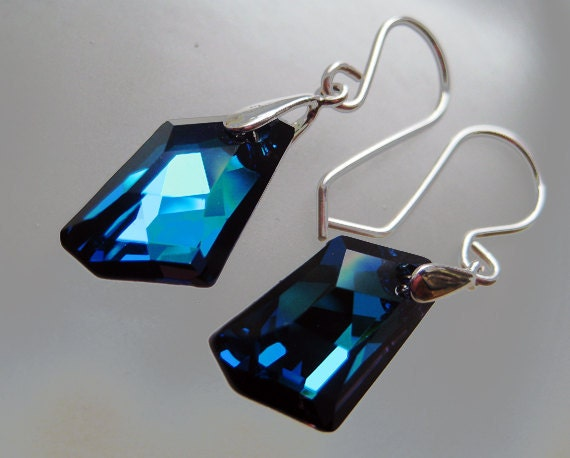 Swarovski Bermuda Blue Crystal de Art Earrings with Argentium and Sterling Silver. Gorgeous and dazzling