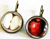Snow White's Apple Earrings bronzecolored - red fruit Fay pixie fairy tale special gift twin sister best friend daughter mother jewelry