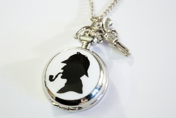 Mister Holmes Silhouette Pocket Watch silvercolored - england london detective crime thriller special gift sister best friend watch