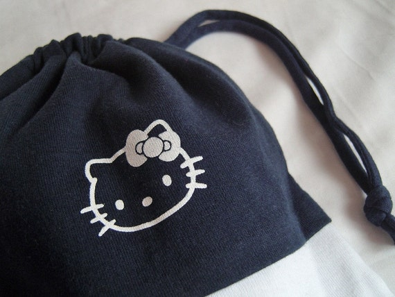 RUMMAGE SALE - Hello Kitty upcycled drawstring pouch