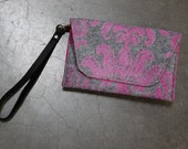 Grey Felt Clutch with Black Leather Strap with Hand Silk Screened Hot Pink Victorian Print