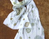 Extra Long Cotton Gauze scarf Mandala Print on