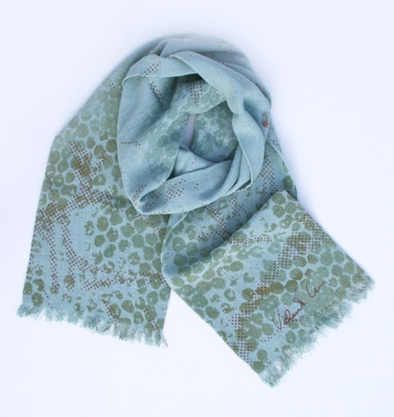 Blue Raw Silk Scarf with Bubble Wrap and Mini Dots Print - first two photos only