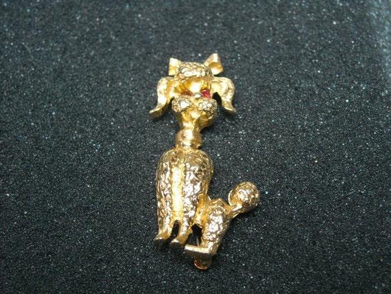 Vintage 14K Gold French Poodle Brooch