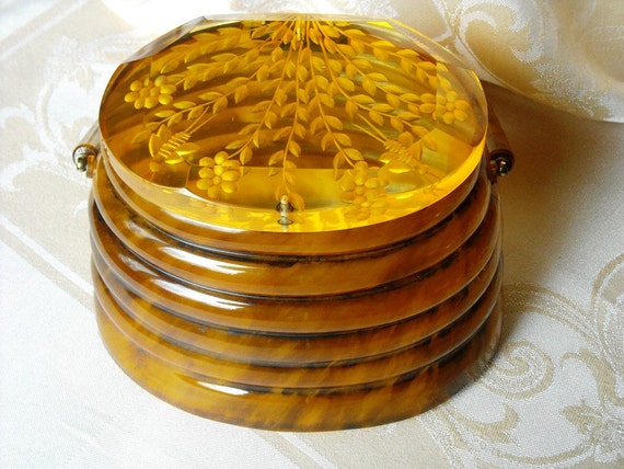 RESERVED Vintage Lucite 1950s Llewellyn of NYC Beehive Handbag