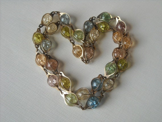 RESERVED Vintage Fried Marble Multi-Colored Necklace
