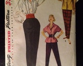 1953 Simplicity Women's  Blouse and Slack Pattern 4464 Size 14 Bust 32