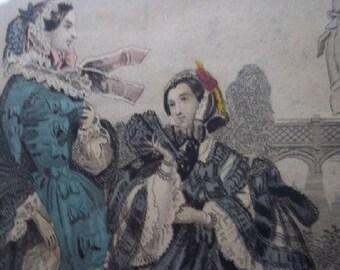 Exquisite Vintage Custom Framed Les Modes Parisiennes/ Le Follet Fashion Print Mid 1800s
