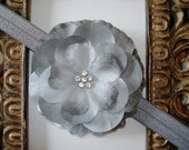 Baby Headband - Baby Flower Headband - Baby Girl Headband - Grey Flower on a Grey Headband, Girl Heaband, Baby Headband
