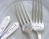 Wedding Forks Hand Stamped Wedding Forks Mr and Mrs Dinner Forks
