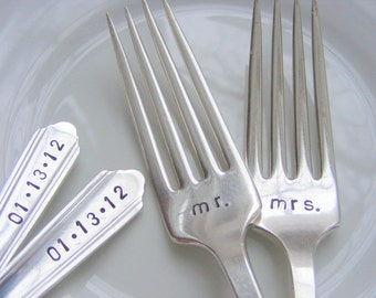 Wedding Forks Hand Stamped Wedding Forks Mr and Mrs Dinner Forks