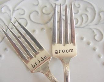 Bride and Groom Cake Forks