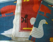 Vintage 3 linen Kay Dee Fall colors towels Whimsical Americana Folk Art farm animals Whirligigs Weathervanes chickens horses pigs signed