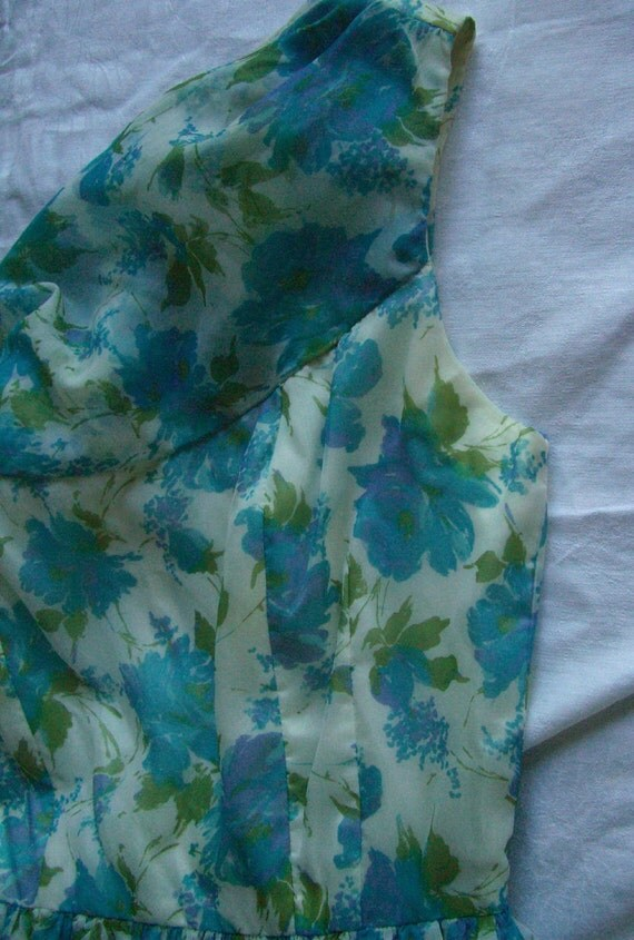 Vintage Dress Turquoise Purple flowers Day Dress Sleeveless Cowl Neck