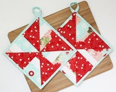 Pinwheel - Handmade Quilted Potholders - Set of Two