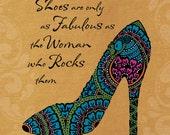 Peacock Shoe - Fabulous Woman Golden- 5x5 Art Print  - in 10x10 Shadowbox Frame