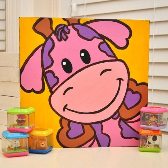Gia la jirafa - linda divertida pintura Original para bebé o niños sala de decoración