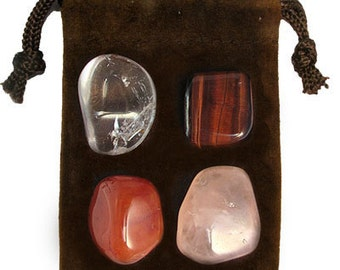 TAURUS - Zodiac STONE KIT Crystal Healing Gemstone Set, Meditation Stone Set, Astral Stones, Birthstones, Tumbled Gemstones, 4 Stones