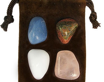 PISCES - Zodiac STONE KIT Crystal Healing Gemstone Set, Meditation Stone Set, Astral Stones, Birthstones, Tumbled Gemstones, 4 Stones