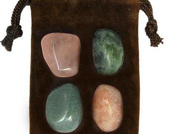LIBRA - Zodiac STONE KIT Crystal Healing Gemstone Set, Meditation Stone Set, Astral Stones, Birthstones, Tumbled Gemstones, 4 Stones