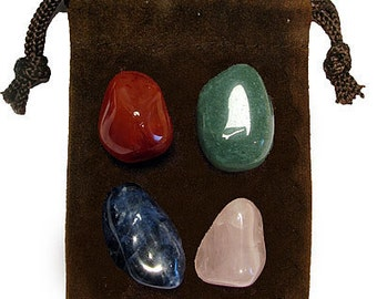 WEIGHTLOSS - Meditation Stone Set Crystal Healing Gemstone Kit, Tumbled Gemstone Healing Set, 4 Stones, Pouch, Card