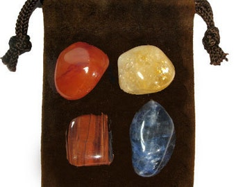 PUBLIC SPEAKING - Meditation Stone Set Crystal Healing Gemstone Kit, Tumbled Gemstone Healing Set, 4 Stones, Pouch, Card