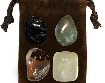 aura cleansing - Meditation Stone Set, Crystal Healing Gemstone Kit, Tumbled Gemstone Healing Set, 4 Stones, Pouch, Card