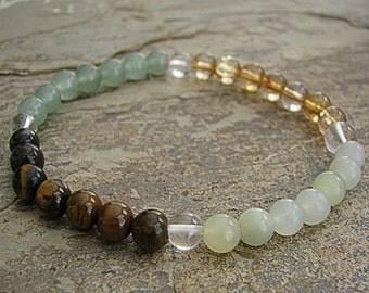 SUCCESS - Crystal Energy MEDITATION BRACELET -  Gemstone Intention Bracelet, Yoga Jewelry, Energy Bracelet, Affirmation Mala Bracelet