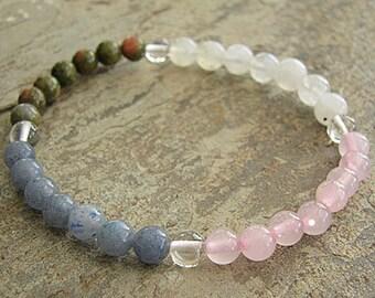 PREGNANCY- Crystal Energy MEDITATION BRACELET -  Intention Bracelet, Yoga Jewelry, Energy Bracelet, Affirmation Mala Bracelet