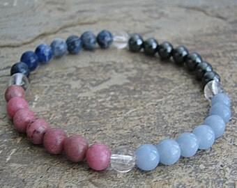 PEACE- Crystal Energy MEDITATION BRACELET -  Intention Bracelet, Yoga Jewelry, Energy Bracelet, Affirmation Mala Bracelet