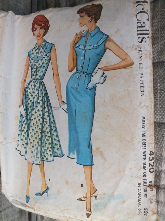 Vintage 1950s Dress Pattern McCalls 4520 1958 Size 16  Bust 36 Vintage Elegant Mad Men Style Retro Fashion Pin-Up
