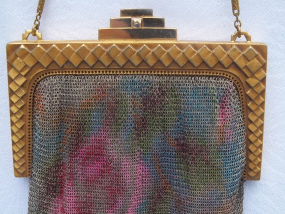 Antique Wire Mesh Purse 1920s Ornate Frame Dresden Mesh Whiting and Davis Roaring Twenties Free Shipping SALE REDUCED