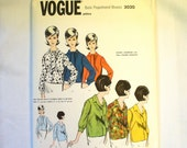 Womens Vintage Vogue Pattern Vintage 60s Vogue Basic Proportioned Misses Blouses 3020 Size 10 1960s