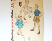 Vintage Sewing Pattern Toddler Boys Playsuit Shorts Shirt Size 2 Simplicity 3909 1950s