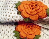 Treasury Item...Handmade Crocheted Pillow Covers, Beautiful Orange Flower on White, Country Cottage, Shabby Chic