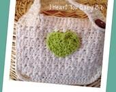 I Heart You Cotton Baby Bib Cream Green