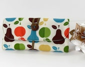 MakeUp Brush Roll - Pencil Roll - Crochet Hook Case in Apples and Pears by UpUrAly
